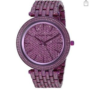 NWT Michael Kors Darci Purple Pave 3 Hand Watch